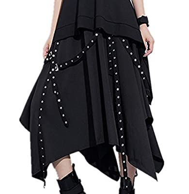 Crazycatz Womens Skater Skirt Gothic Flared Elastic Waist Punk Skirt