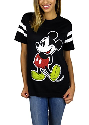 Disney Womens Mickey Mouse Varsity Football Tee (Black, Small)