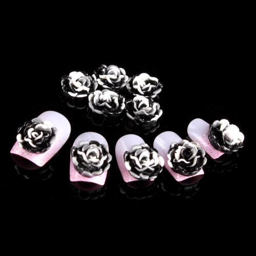 Yesurprise 20pcs Acrylic 3D Big Flower Stickers Beads Nail Art Tips DIY Decorations 10mm Black with White