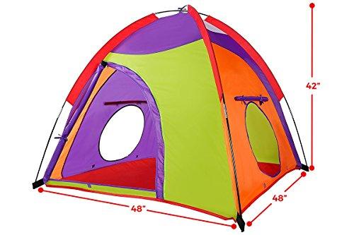 Alvantor Kids Tent Indoor Children Play Toy Toddler Pop up Outdoor Games Colourful Curvy Patent, Red, Orange,Purple,Green, 48'' 48'' 42'' by Alvantor (Image #1)