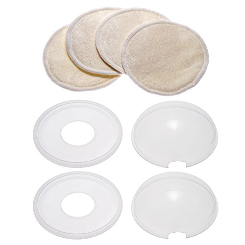 PChero Breast Shells Set, 2 Pack Milk Saver Nursing Cups + 4 Pack Washable Nursing Pads, Perfect for Protecting Sore Nipples for Breastfeeding and Collecting Breast Milk Leak