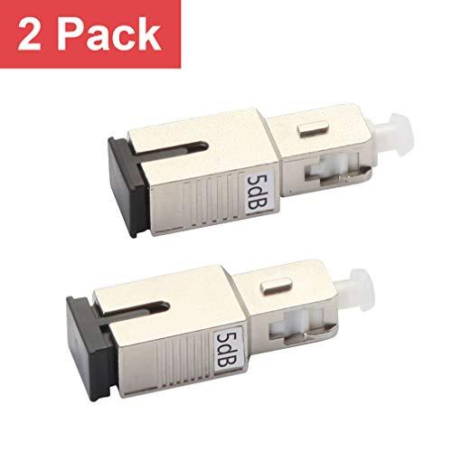 SC/UPC Fiber Optic Attenuator 5dB, in-Line Attenuator, Male/Female, Single-Mode Fixed, dB Options: 3dB, 5dB, 7dB, 10dB, 2 Pack