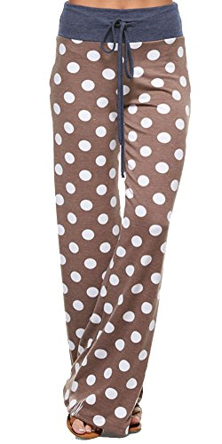 - Marilyn & Main Women's Comfy Soft Stretch Pajama Pants,Mocha Polka Dot,Medium