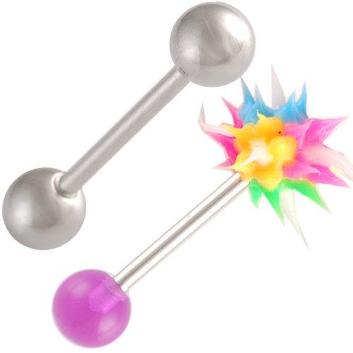 (bodyjewellery 14g 14 Gauge 1.6mm 5/8 Tongue Bars Nipple Barbell Ear Rings 6mm Steel Koosh Ball Purple Acrylic AVNQ 2Pcs)