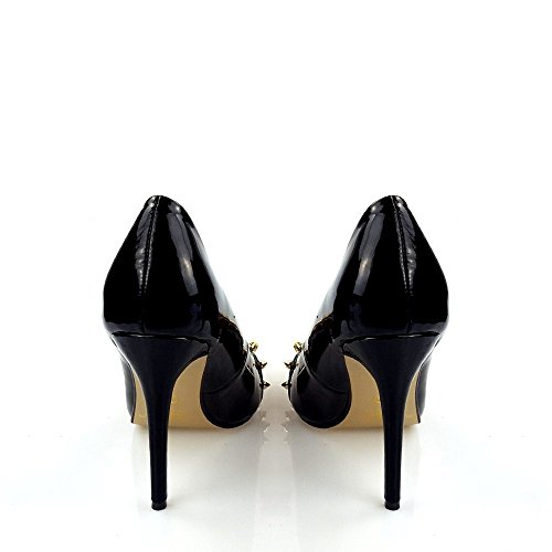 Spiked Scarpa Slip Stiletto Alto In Court Donna Sommer On Nera Tacco Vernice Detail xZfqy4nwUS
