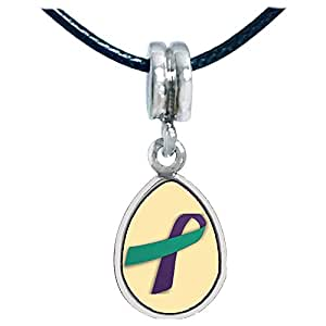 Chicforest Silver Plated purple with green Aids Ribbon Photo Angel Tears Charm Beads Fits Pandora Charms