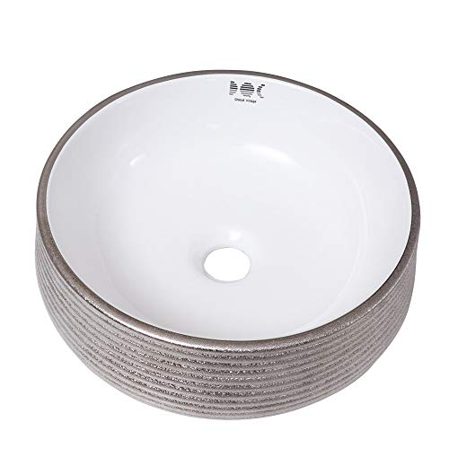 Silver Above Counter Porcelain Ceramic Vessel Vanity Sink Art Basin without Pop Up Drain and Overflow