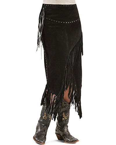 (Scully Women's Asymmetrical Fringe Suede Leather Skirt Black Medium)