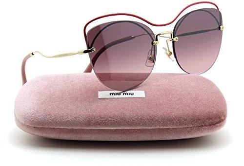 Miu Miu MU 50TS SCENIQUE Collection w/Top Bar Rimless Women Sunglasses (Raspberry, Gradient Pink Mirror - Miu Sunglasses New Miu