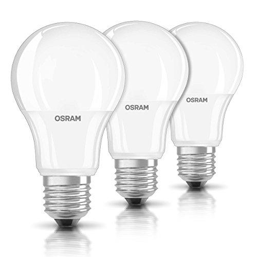 OSRAM LED-Lampe E27 BASE Classic A / 9,5W - 60 Watt-Ersatz, LED Birne als Kolbenlampen / matt, warmweiß - 2700K / 3er-Pack