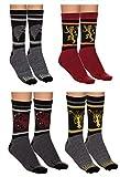 Game of Thrones Unisex 4 Pack Jacquard Knit Crew Socks Gift Set