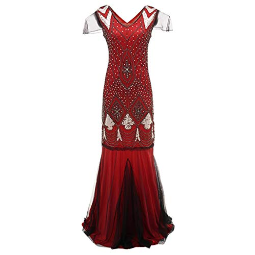 Clearance Renaissance Dress,Forthery Women's 1920s V Neck Sequin Mermaid Gatsby Theme Flapper Dress for Formal ()