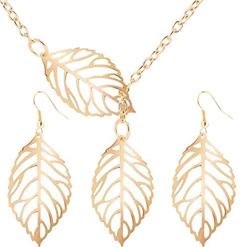 Soul Statement Leaf Earring Necklace Set -