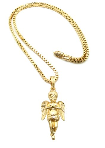 Fashion 21 Gold Tone Micro Praying Baby Angel Pendant 3mm 24 inches Box Chain Necklace
