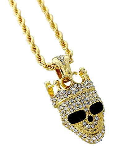 Crowned Skull Pendant - United Bling Iced Out Crowned Skull Pendant Necklace with 24