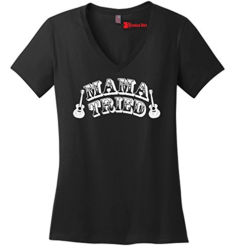 Comical Shirt Ladies Mama Tried Cute Country Music Southern Rebel Black XL