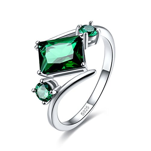 Merthus Womens 925 Sterling Silver Created Emerald Bypass Geometric Shaped Ring