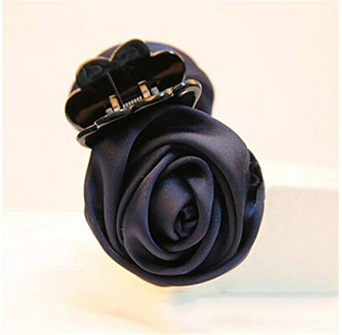 (Women Vogue Rose Flower Hair Clip Claw Comb Hairpin Clamp Accessory Headwear New (Colors - Navy Blue))