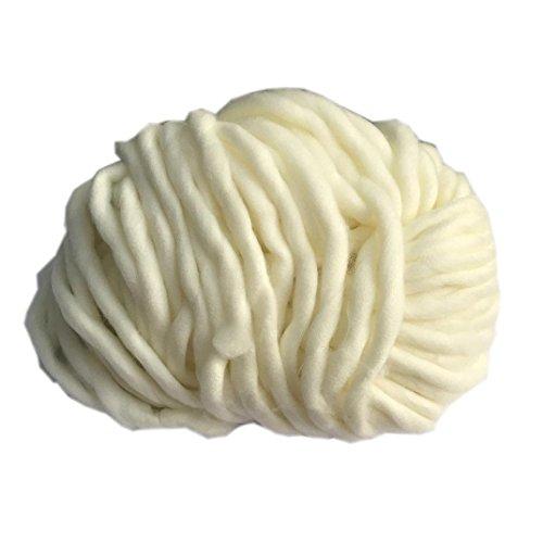 O-wool Classic Yarn (knitting wool yarn Vibola Hand Knitting Blanket Hats Super Thick Chunky Yarn Roving Bulky Yarn 250g per lot (F-White))