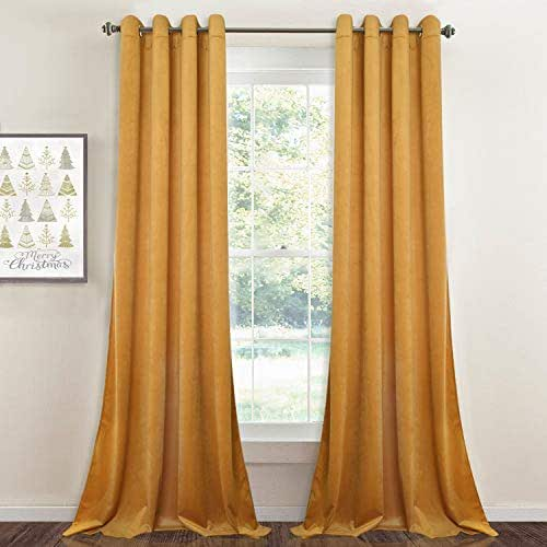 Light Blocking Velvet Curtains 108-inch - Extra Long Thick Velvet Large Window Drapes Soft Smooth Hands Feel Sound Lower Privacy Panels with Grommet for Hotel, Warm Yellow, W52 x L108-inch, 2 Pcs