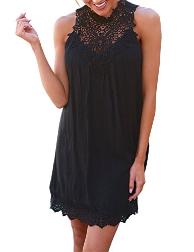 Blooming Jelly Women's Halter Sleeveless Crochet Lace Neck Hollow Out Loose Casual Short Black Dress