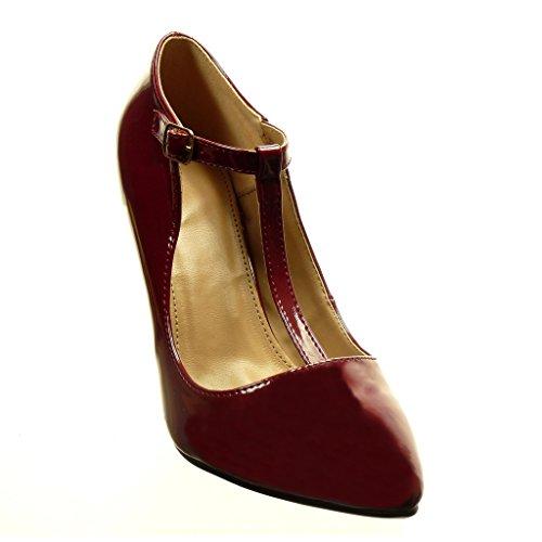 Angkorly - Scarpe da Moda scarpe decollete cinturino sexy donna verniciato Tacco Stiletto tacco alto 9.5 CM - Bordo