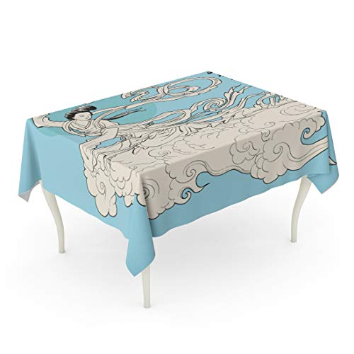Tarolo Rectangle Tablecloth 52 x 70 Inch Artistic Mid Autumn Festival of Chang E The Chinese Goddess Moon Translation Galloped Away to Fairy God Table Cloth