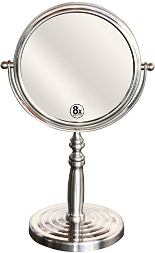 Reflections Bedroom Vanity (DecoBros 6-Inch Tabletop Two-Sided Swivel Vanity Mirror with 8x Magnification, Nickel)