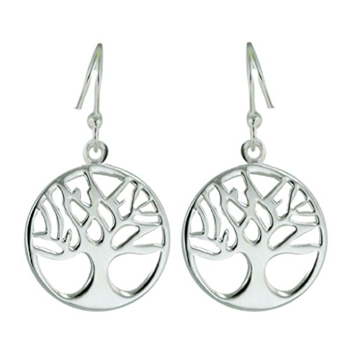 (Sterling Silver Tree of Life Dangle Earrings - 14mm Circle Dangling Earrings for Sensitive Ears)