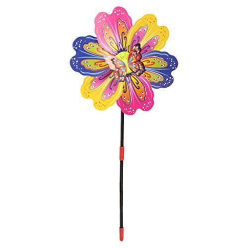 puhoon pinwheels, 3D Butterfly Flower Windmill Wind Spinner Home Garden Yard Decoration Kids Toy, Lovely Toy for Kids, Home Decor, Random Deliver, ()