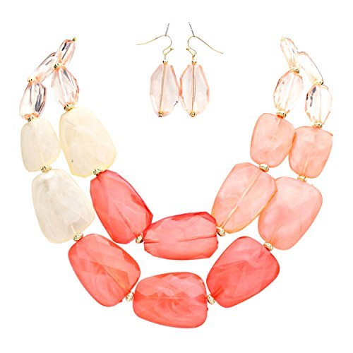 Chunky Beaded Necklace Earring (Rosemarie Collections Women's Ombre Polished Resin Statement Necklace Earring Set (Coral))