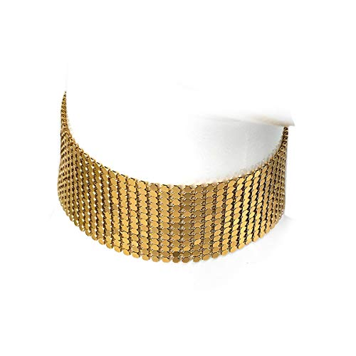 MeliMe Glitter Mesh Flat Chain Metal Sequins Choker Necklace (Gold) ()