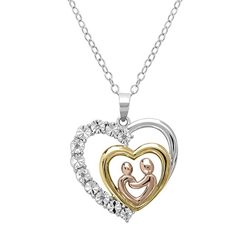 Tri Colored Sterling Silver Mother and Child Diamond Heart Pendant – Necklace