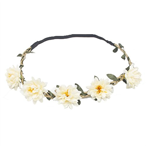 Flower Crown - White Flower Headband - Festival, Wedding Floral Wreath ()