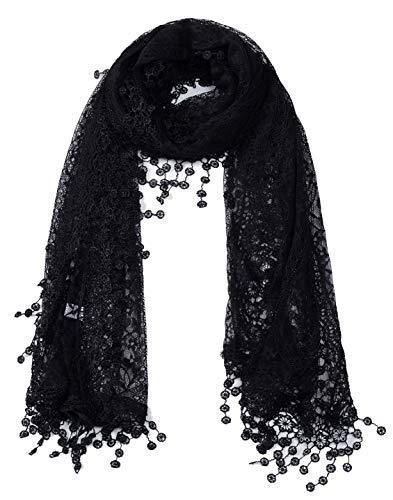 - Women's lightweight Feminine lace teardrop fringe Lace Scarf Vintage Scarf Mesh Crochet Tassel Cotton Scarf for Women (Black with Fringes)