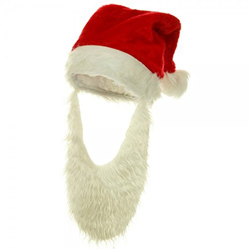 Jacobson Hat Company Adult Plush Santa Hat with Beard Adult Plush Santa Hat
