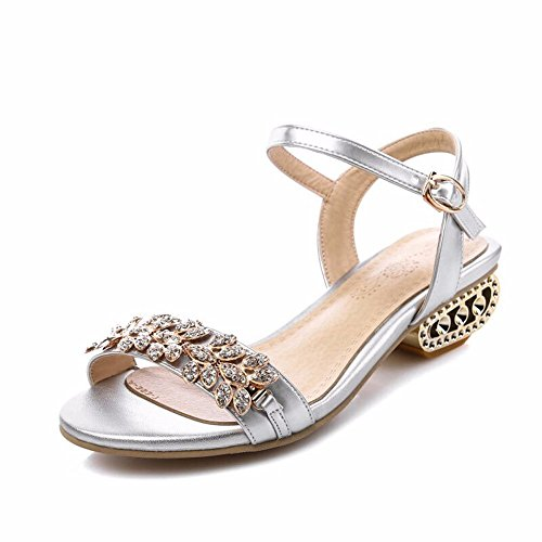 No. 55 Shoes Estate Diamanti Aprire Le Dita dei Piedi con Sandali Ladies Ladies Dating Sandali,noi9.5-10/EU41/UK7.5-8/CN42,A62-argento