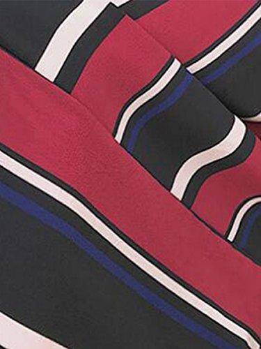 Simplee Apparel Women 's Summer casual Stripe V cuello correa sin mangas vestido de Maxi Wine Rojo