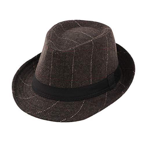 Cinhent Hat Vintage Men Winter Pork Pie Plaid with Grosgrain Band Jazz Warm Cap