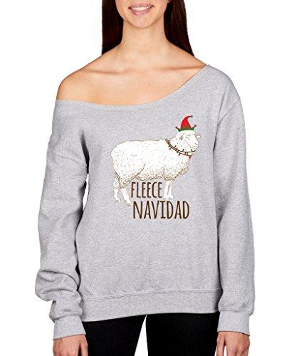 SignatureTshirts Womens Christmas Fleece Navidad Off Shoulder Sweater at Amazon Womens Clothing store: