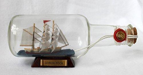 NAVE BOTTIGLIA ca.17x6x7cm Gorch Fock Nave in bottiglia Schiffsmodelle