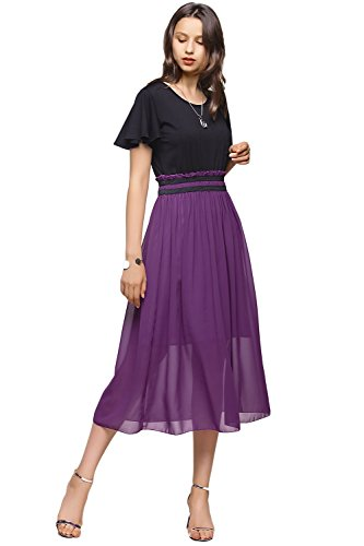 Amoretu Womens Short Sleeves Empire Waist Chiffon Midi Dress for Summer (Grape Purple, M)