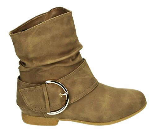 King Of Shoes Damen Stiefeletten Stiefel Boots Flache Schlupfstiefel Schnallen Winter Schuhe Warm Gefüttert 91-2 Khaki