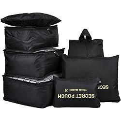 7 Set Travel Packing Organizer,Waterproof Mesh Durable Luggage Travel Cubes,1 Shoe Bag (black)