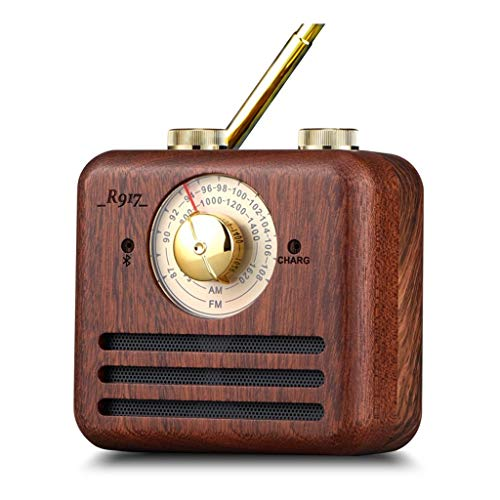 piaoling Portable Radio Wooden Bluetooth Radio Speaker USB Mini Phone Wireless Speaker Built-in Speaker Easy to Operate (Color : Brown, Size : 9.6cm)