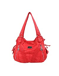 Angelkiss 2 Top Zippers Closure Multiple Pockets Handbags Washed Leather Purses Shoulder bags Women 1555