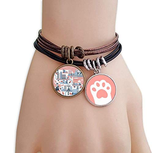 DIYthinker Hong Kong Famous Places Cats Bracelet Leather Rope Wristband Couple Set