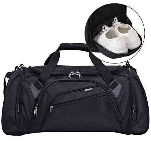 SIYUAN Black Sports Duffel Bag, Gym Bag with Shoe Compartment Big Athletic Bag,Black,Large