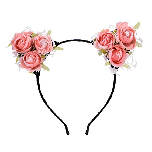 Floral Fall Festival Rose Flower Crown Cat Ear Costume Headband Lace Hair Hoop HD-10 (Pink)