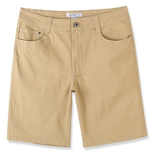 HARBETH Men's Casual Classic Fit Flat-Front Stretch Solid Chino Walk Short Light Khaki 36